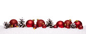 Red christmas balls and pine cones isolated on snow, Christmas banner