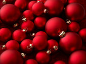 Red Christmas baubles (full frame), close-up