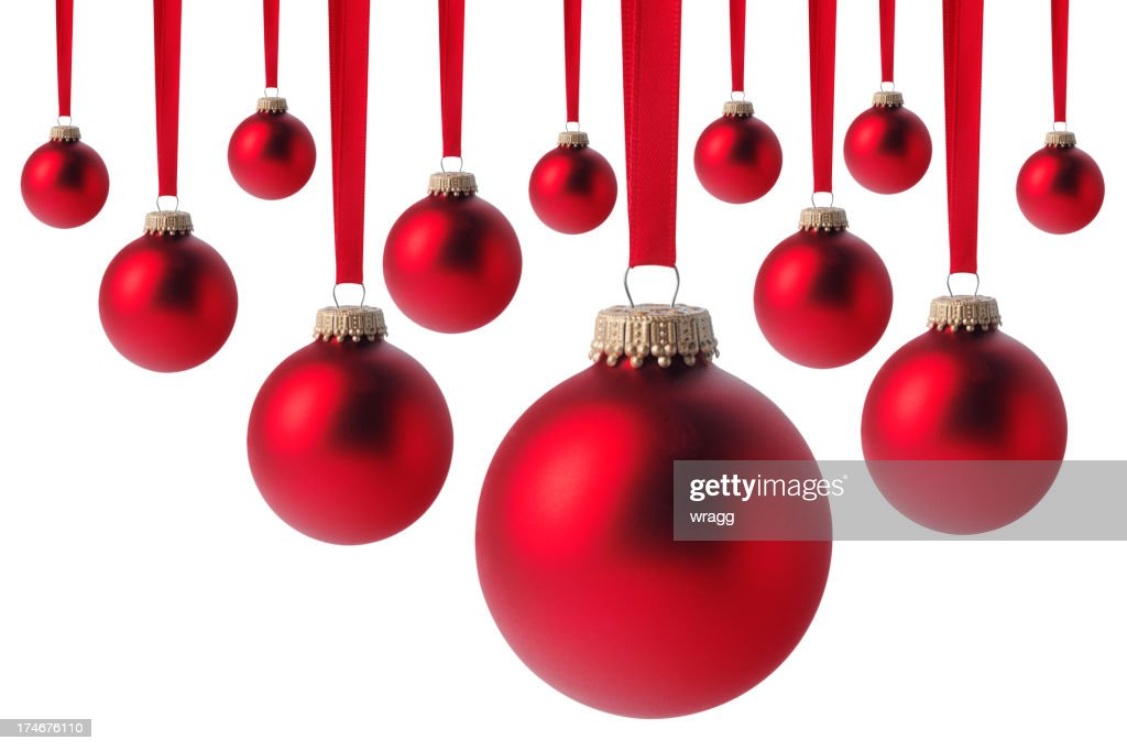 Red christmas baubles isolated on white stock photo for White christmas baubles