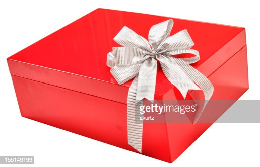 Red christmas gift box with large silver bow isolated