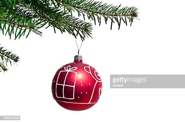 Rote Christbaumkugel auf die tree