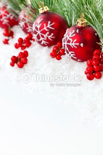 Red Christmas Ornaments Border Stock Photo Thinkstock