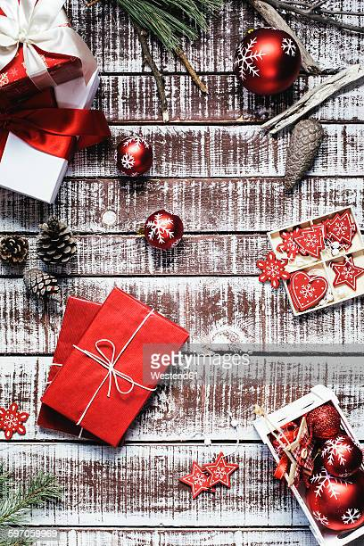 Red Christmas presents and Christmas decoration