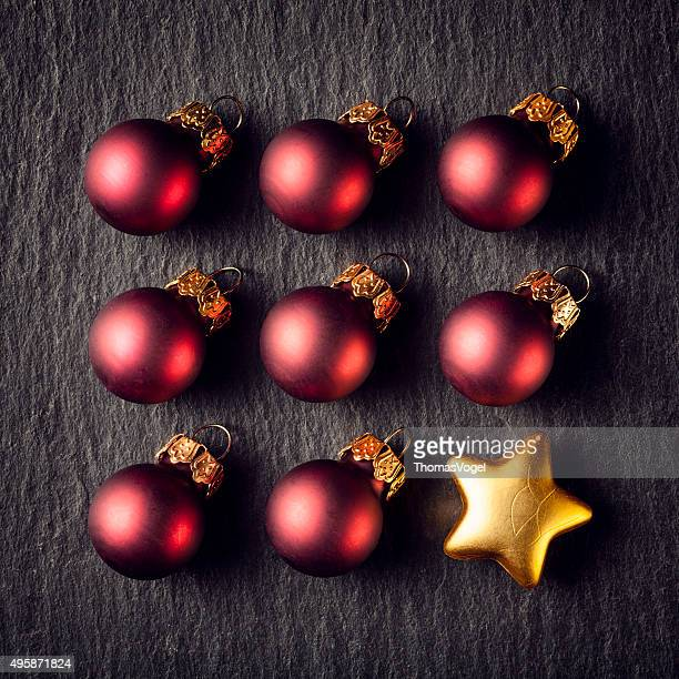 Rot Weihnachten Quadratmeter Gold Star Dekoration Ornament Slate