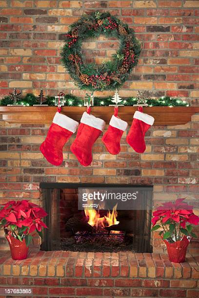 Red Christmas Stockings Fireplace Fire Wreath Poinsettias Mantel Decorations Hearth