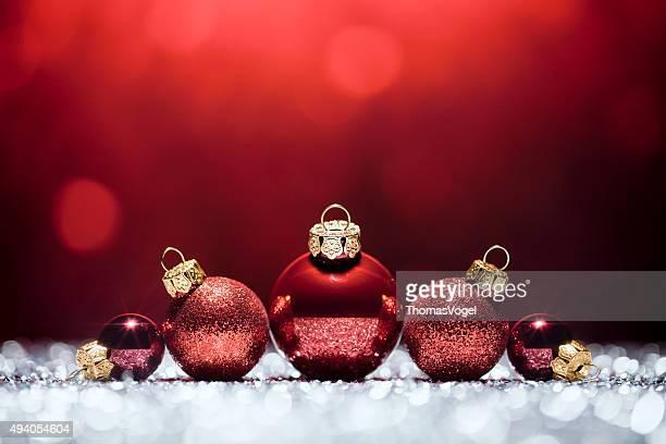 Rote Weihnachten Dekoration Lichter, Bokeh Unscharf gestellt-Einrichtung White