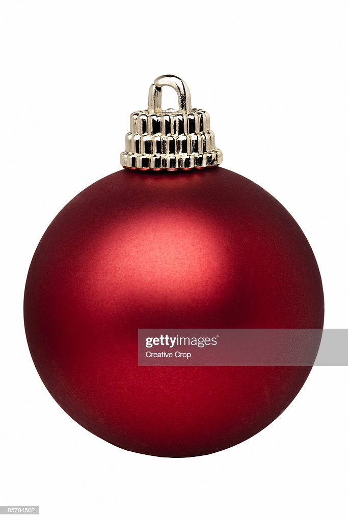 Red christmas tree ball / bauble decoration : Stock Photo