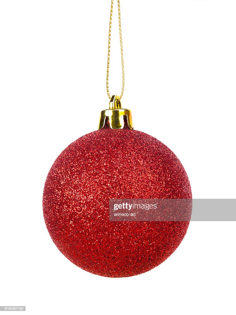 Red christmas xmas ball isolated on white : Foto de stock