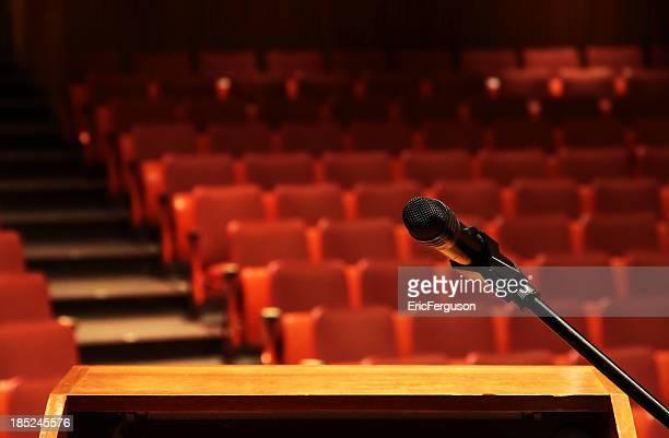 Red Cinema seats and podium