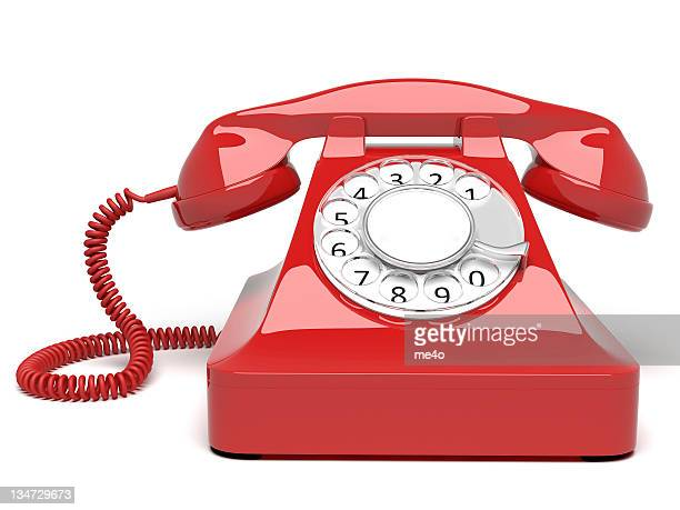 Red circle dial telephone on white background