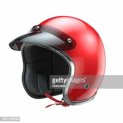Red classic motorbike helmet : Stock Photo