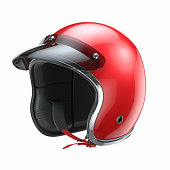 Red classic motorbike helmet isolated on white background 3d