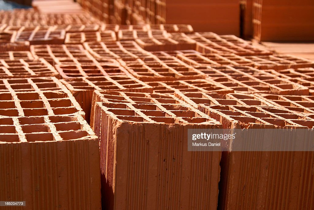 Red Clay Bricks : Red clay construction bricks stock photo getty images