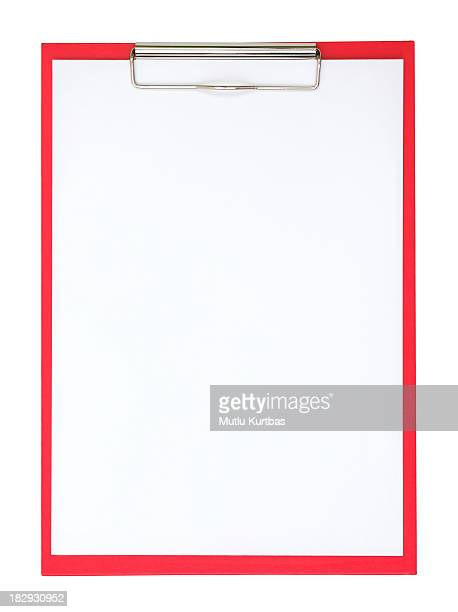 A red clipboard with a plain white piece of paper on it