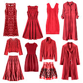 Set of red woman clothes isolated over white