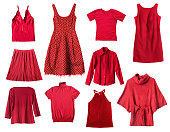 Set of red female clothes on white background