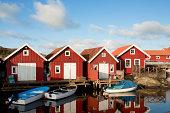 Red coastal houses