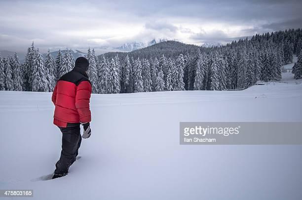 Red coat on White snow