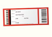 red concert event ticket with set number and bar code