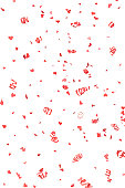 Red Confetti Hearts and Streamers Falling, Isolated on White