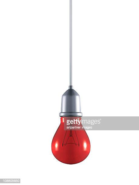 Red Conventional Light Bulb on a Cable