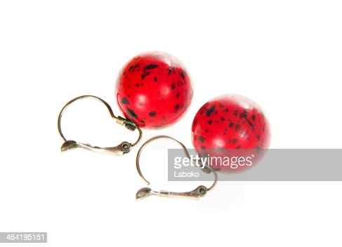 Red coral earrings : Stock Photo