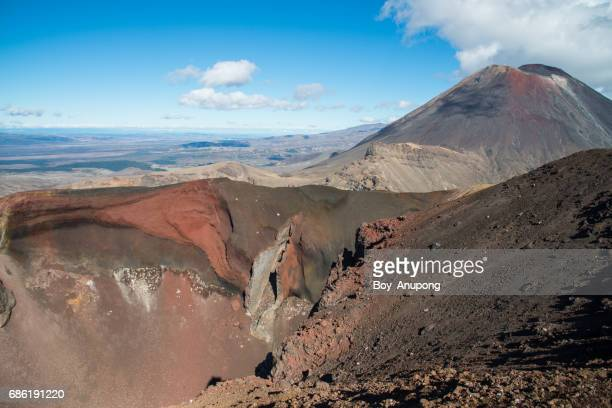 Red Crater and Mt.Ngauruhoe in Tongariro national park, New Zealand.