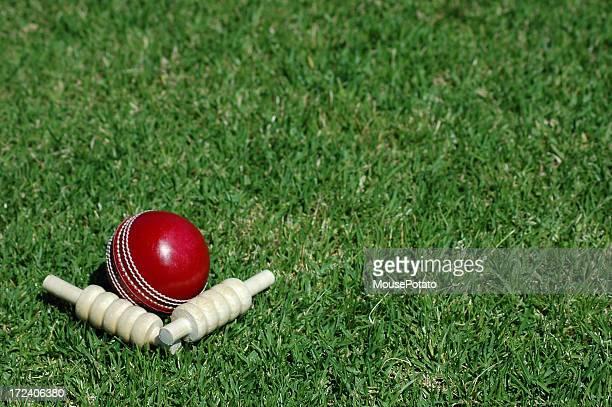 Rojo y bails bola de críquet