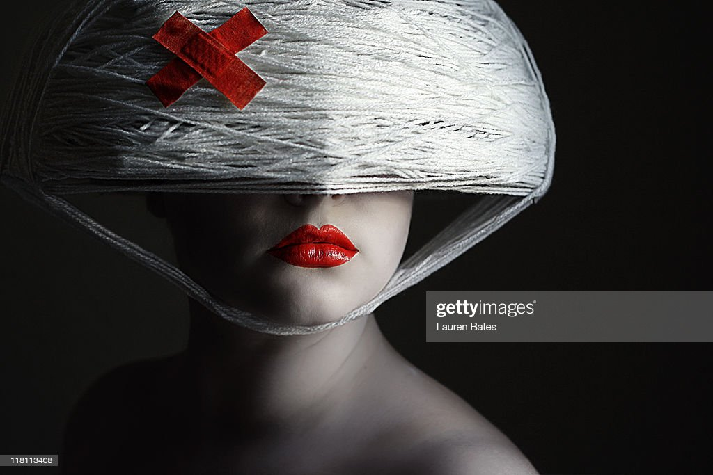Red cross and  red lips : Stock Photo