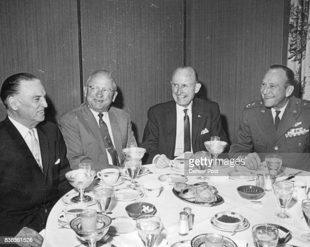 Red Cross and United Fund Officials Gather at Breakfast From left are Frank Ricketson Jr Aksel Nielsen Gen Alfred M Gruenther president of red cross...