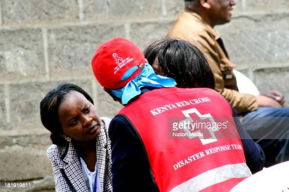 Red Cross Counsellors council relatives of victims of the Westgate Mall on September 25 2013 in Nairobi Kenya The Mall was hit with a terrorist...