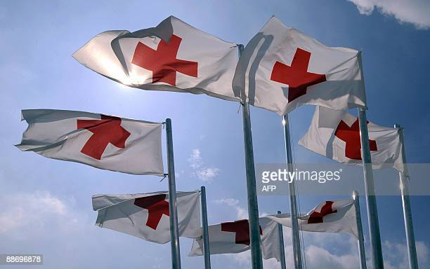 Red Cross flags flutter in the wind on June 26 2009 at the International Red Cross humanitarian camp in Solferino about 150km east of Milan to mark...