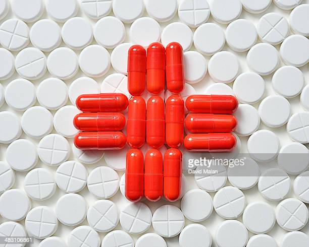 Red Cross formed by pills and tablets