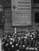 Red Cross nurse Alice Barton Behr indicates the start of the 100000 dollar American Red Cross appeal during World War I New York City June 1917 The...
