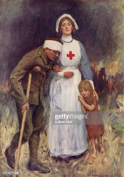 Red Cross nurse supporting an injured soldier and child dseeking shelter copy of painting by William Hatherell Caption 'Hers the conflict hers the...