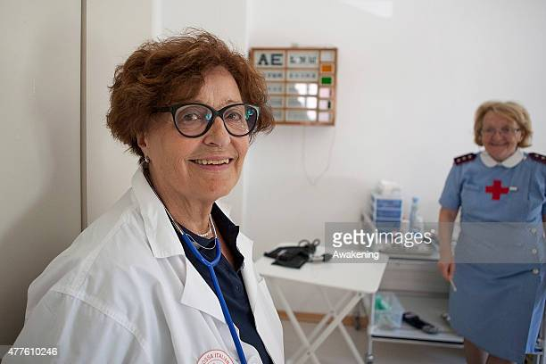 Red Cross volunteers Gigliola and Edina before starting the routine medical examinations on June 18 2015 in Gorizia Italy Approximately 50 migrants...