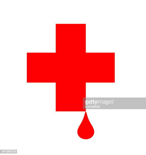 Red Cross with drop of blood.