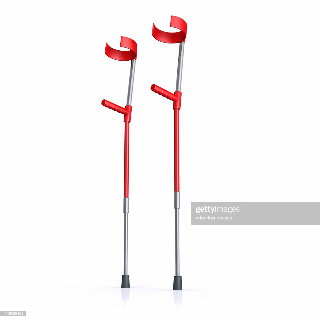 Red crutches on a white background
