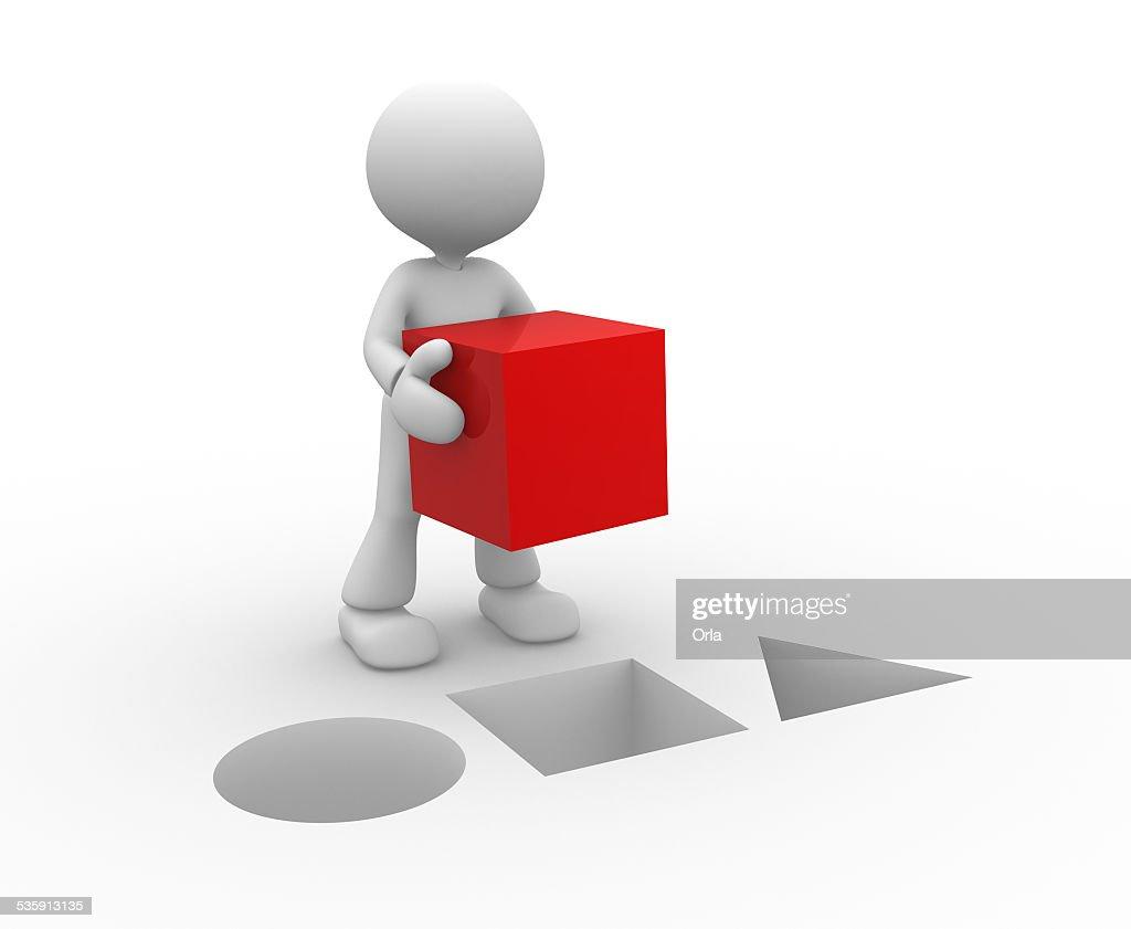 Cubo vermelho : Foto de stock