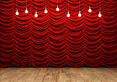 Red curtain and wooden floor with retro light bulbs. 3D rendering