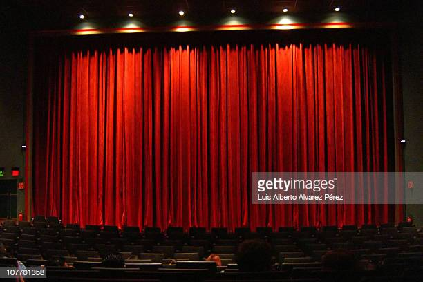 Red curtain in movie theater