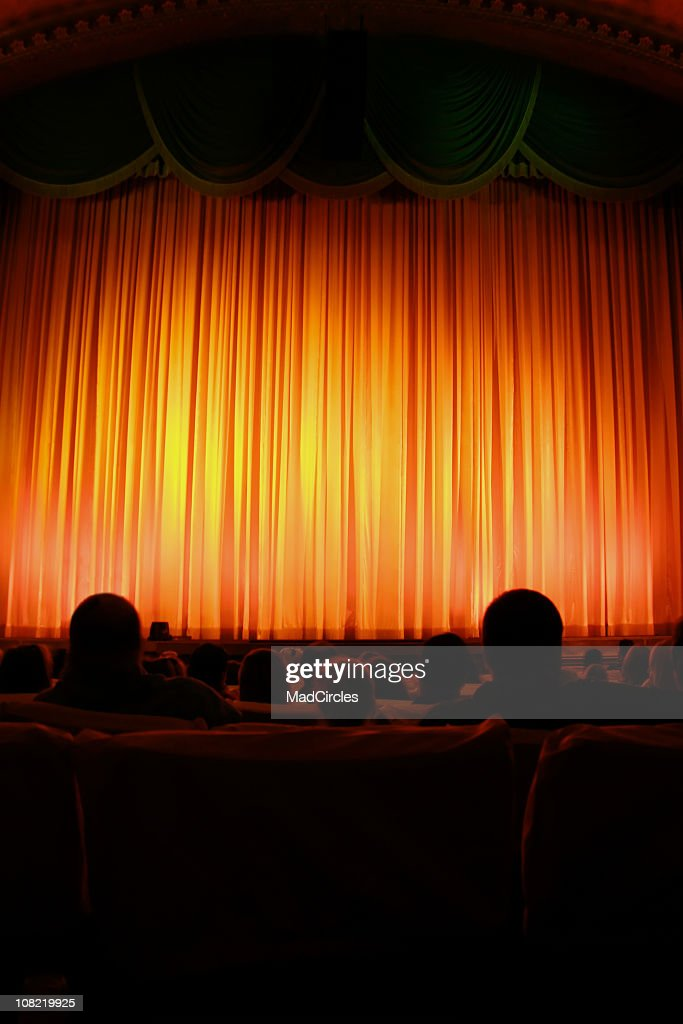 Red curtain in the theater.