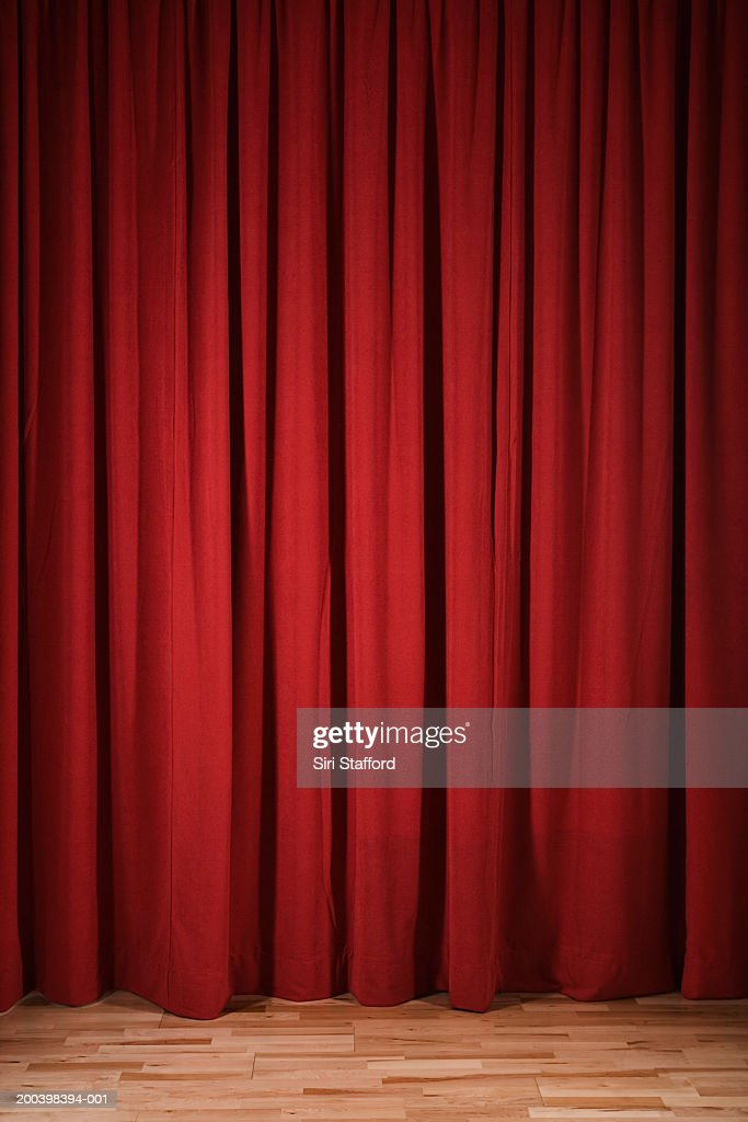 Red curtain on stage : Stock Photo