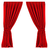 Red Curtains Isolated on white background. 3D render