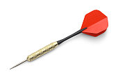 Single Red and Black Dart Isolated on White Background.