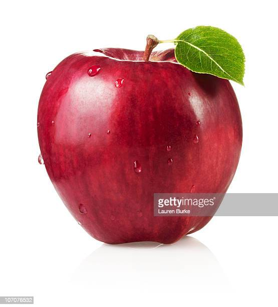 Red Delicious Apple with Leaf