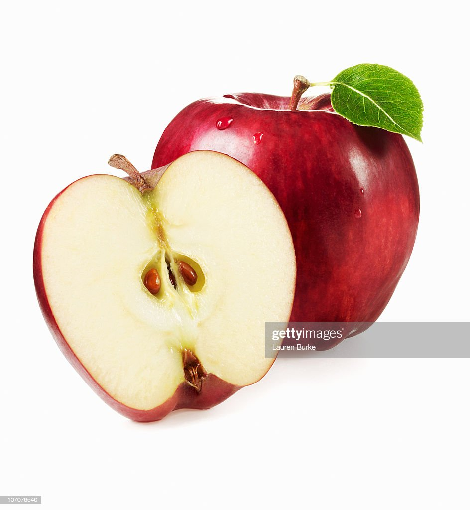 Red Delicious Apple with Leaf  : Stock Photo