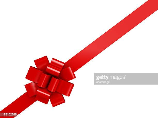 Red diagonal ribbon with a bow over a white background