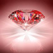 Red diamond in bright light. 3D illustration.