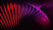 Red digital background with 3d spiral structures. Rotate 3d spiral.